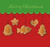 Raster christmas gingerbread card — Stock Photo