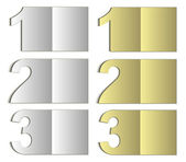 Raster paper card number 123 gold silver blank — Stock Photo