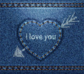 Jeans heart blue denim texture — Stock Vector