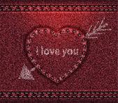 Textura de vermelho denim jeans coração — Vetor de Stock