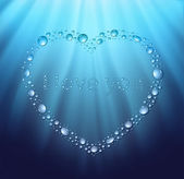 Heart water blue drop — Stock Vector