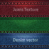 Vector Jeans trio color denim texture — Stock Vector