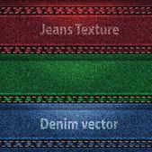 Vector Jeans trio color denim texture — Stock Vector