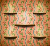 Drewniane półki w pokoju retro — Wektor stockowy
