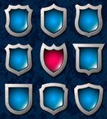 Set of shiny shields — Stock Vector