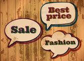 Bolhas do discurso temático de compras — Vetor de Stock