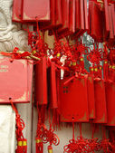 Chinese red wishes tablets — Stock Photo
