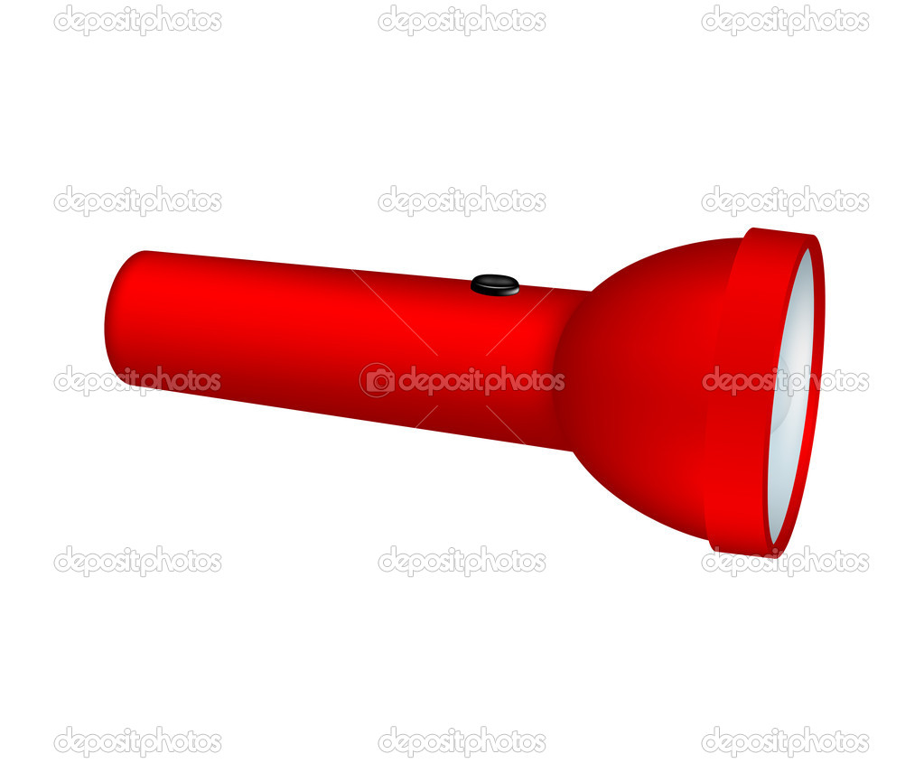Flashlight in red design on white background — Stock Vector #11067606