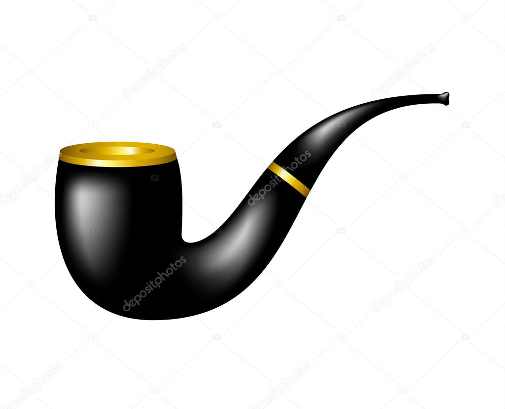 Tobacco pipe in black and gold design on white background — Stock Vector #11069225