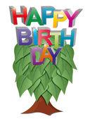 Happy birthday tree — Stock Vector