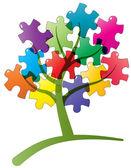 Tree puzzle — Stock Vector