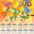 Stock Vector: 2013 bird calendar italian