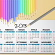 Stock Vector: 2013 calendar pencil, italian