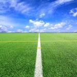 ������, ������: Football or Soccer field and bule sky