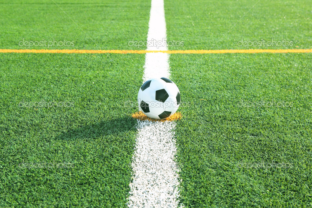 Soccer ball on green field with line  Stock Photo #12023112