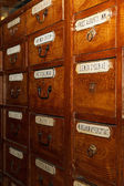 Wooden boxes for medicines in the old pharmacy — Stock Photo