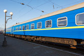 Passenger rail car blue color — Stock Photo
