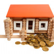 Stock Photo: House built of coins isolated
