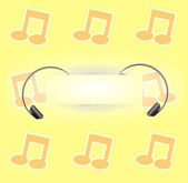 Party background with music notes and headphones — Stock Vector