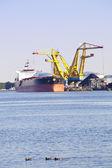 Black coal loading on ship — Stock Photo