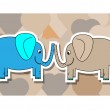 Blue and pink elephant with hearts background — Stock Vector