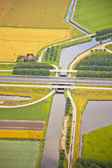 голландский пейзаж фермы с дорожной инфраструктуры и канал — Стоковое фото