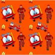 Seamless pattern with fire man and fire truck — Stock Vector #12312242