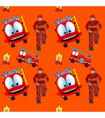 Seamless pattern with fire man and fire truck — Stock Vector