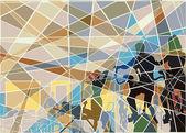 Gymnasium mosaic — Stock Vector