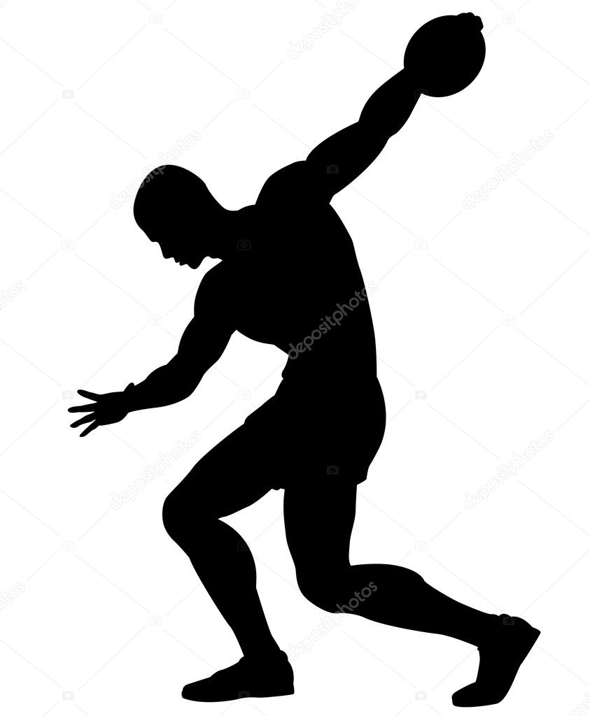 Editable vector silhouette of a man about to throw a discus — Stock Vector #11737876