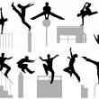 Parkour poses — Stock Vector
