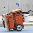 Street cleaner cart — Stock Photo