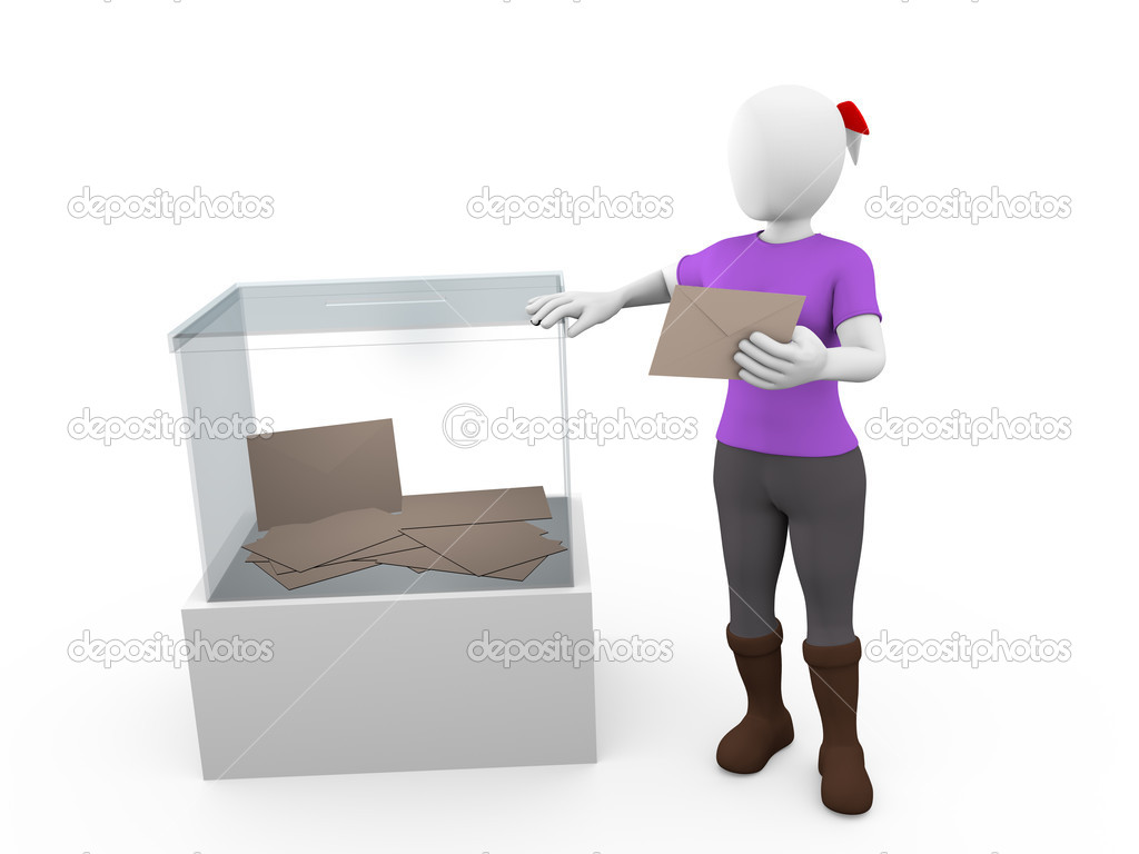 A woman with her vote near a ballot box — Stock Photo #11844907