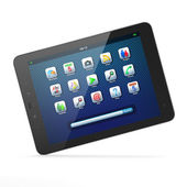 Beautiful black tablet pc computer on white background — Stock Photo