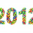 Stock Photo: Colorful 2012 numbers on white