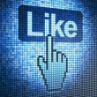 Screen with Like button and cursor — Stock Photo #11592380