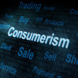Stock Photo: Pixeled word Consumerism on digital screen