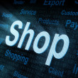 Pixeled word Shop on digital screen — Stock Photo