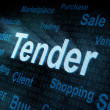 Pixeled word Tender on digital screen — Foto Stock