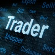 Pixeled word Trader on digital screen — Photo