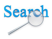 "Magnification glass over ""search"" word — Stock Photo"