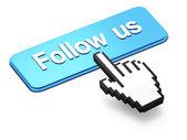 Hand-shaped mouse cursor press Follow Us button — Stock Photo