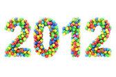 красочные 2012 цифры на белом — Стоковое фото