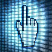 Screen with hand-shaped cursor — Stock Photo