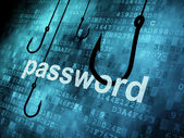 The word password hooked by fishing hook — Stock Photo