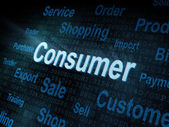 Pixeled word Consumer on digital screen — Stock Photo