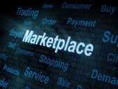 Pixeled word Marketplace on digital screen — Stock Photo