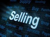 Palabra pixeled vendiendo en la pantalla digital — Foto de Stock