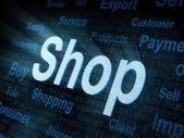 Pixeled word Shop on digital screen — Stock Photo
