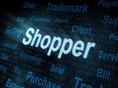 Pixeled word Shopper on digital screen — Stock Photo